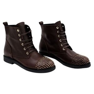 Blender Brown Leather Stud Detail Boots 40